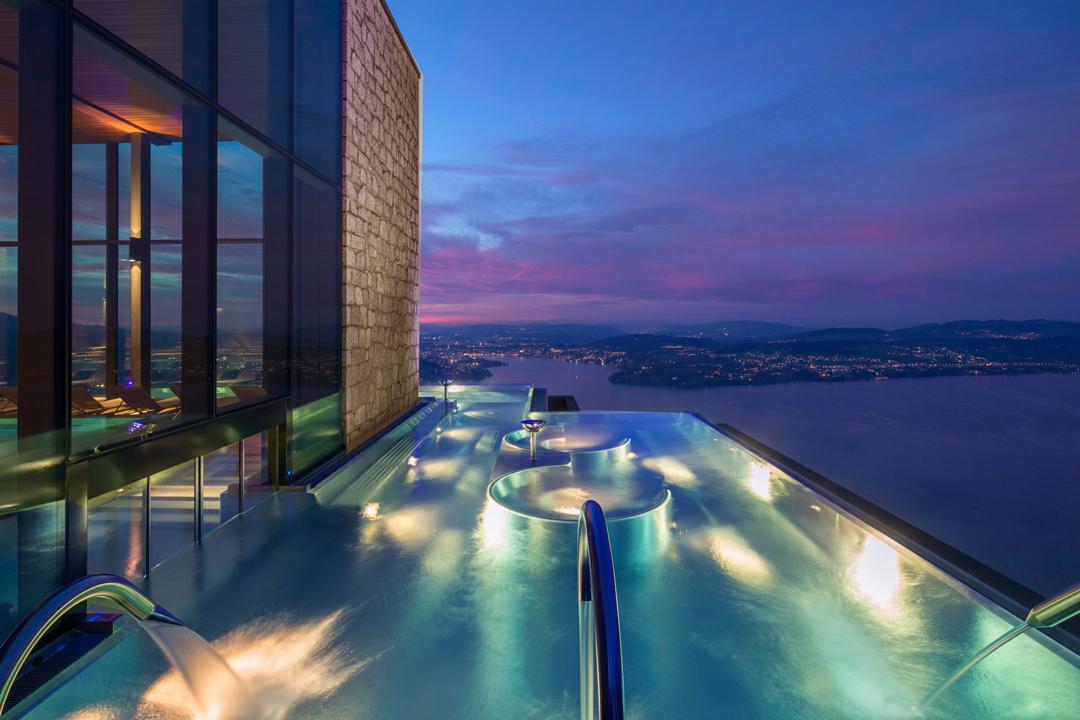 B rgenstock resort lake lucerne unveils new alpine spa for Hotel spa nueva castilla