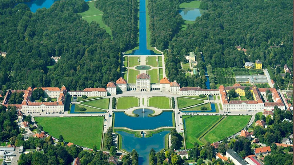 Aerial view of Nymphenburg Palace in Munich, Germany