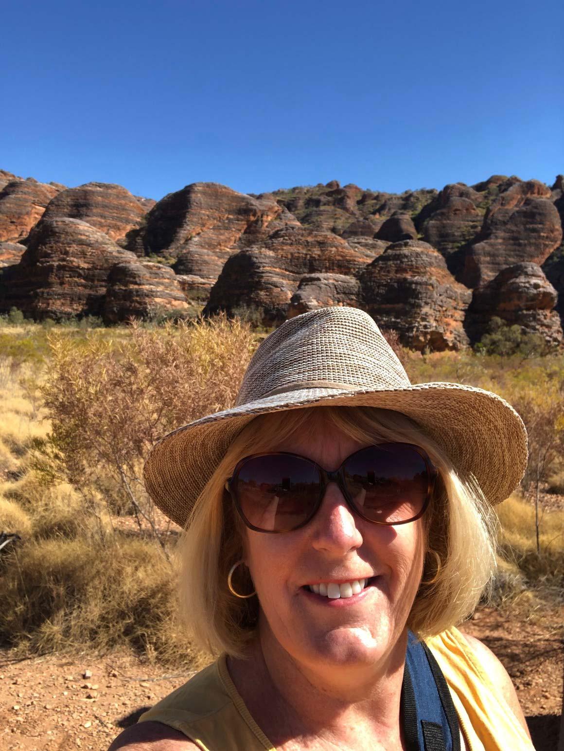 The distinctive shapes of the Bungle Bungle Ranges provide a unique backdrop for PTM Anne-Maree Selmo, representative for Edithvale, Victoria.