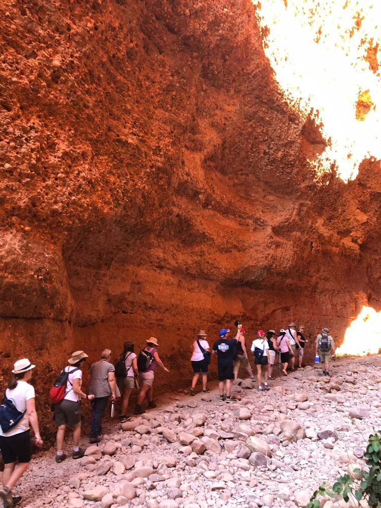 Hiking the Echidna Chasm in Purnululu National Park on TravelManagers' APT-hosted Kimberley famil