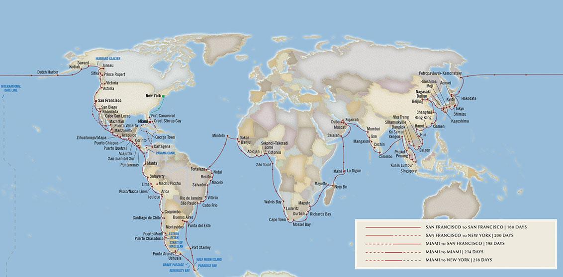 Oceania Cruises 2023 Around the World map